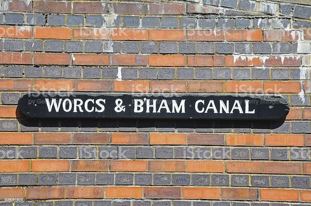Worcester and Birmingham canal sign. stock photo