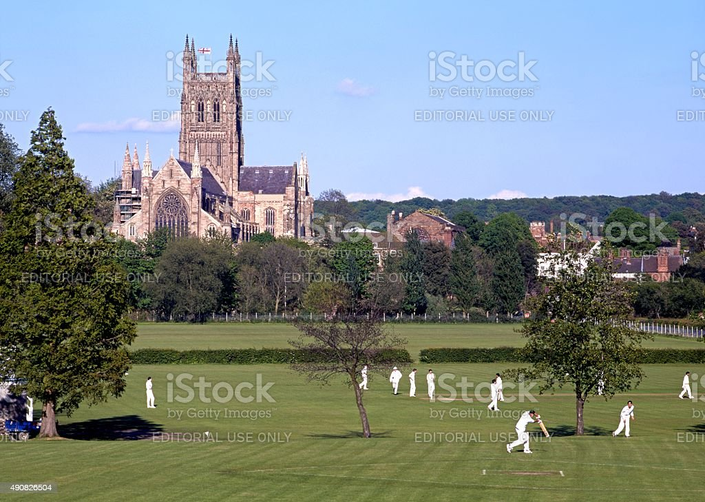 Worcester Cathedral and cricketers. stock photo