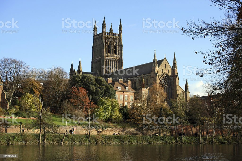 Worcester Cathedral and grounds as seen from across the pond royalty-free stock photo