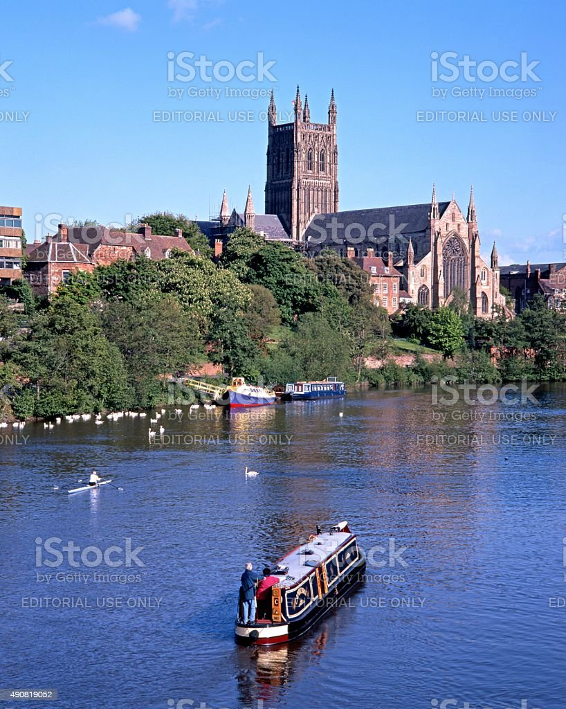 Worcester Cathedral and River Severn. stock photo