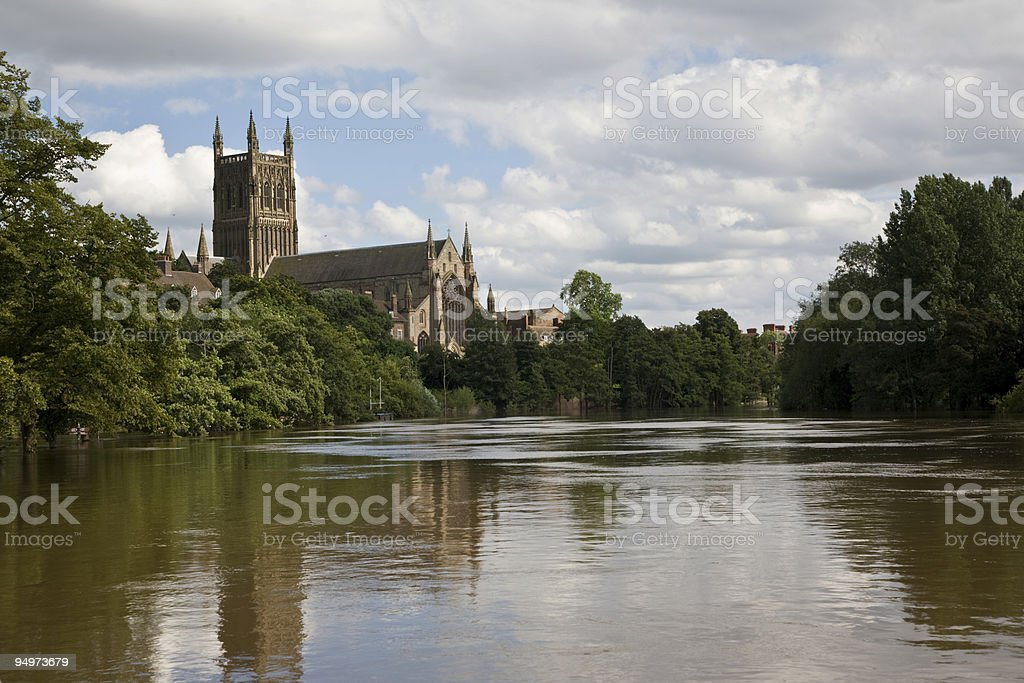 Worcester Cathedral from River Severn stock photo
