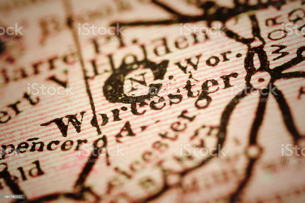 Worcester, Massachusets on an Antique map stock photo