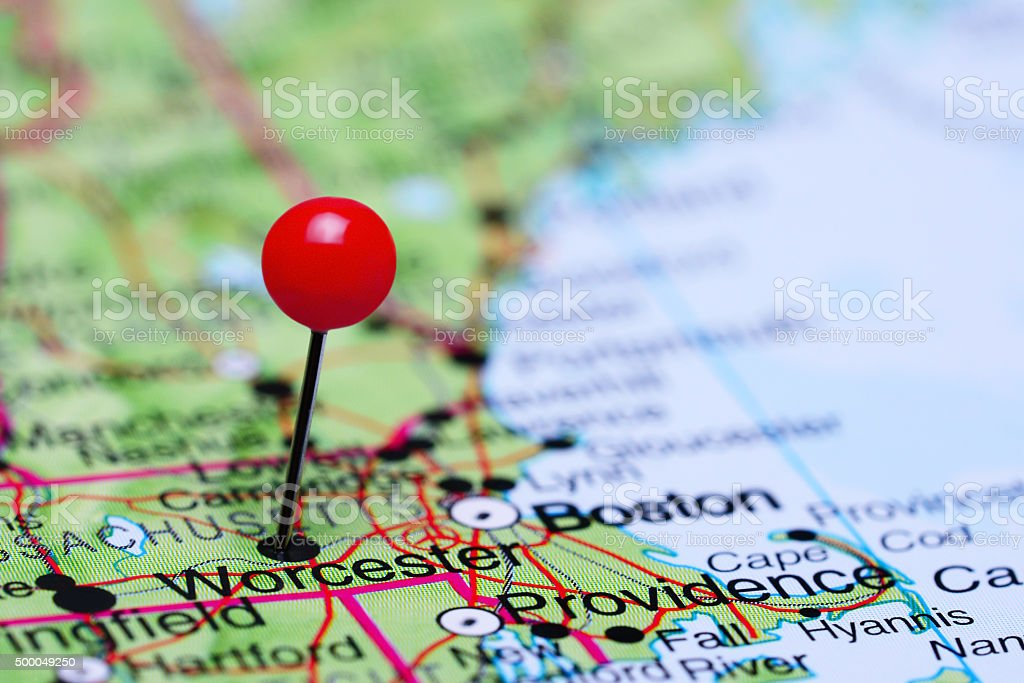 Worcester pinned on a map of USA stock photo