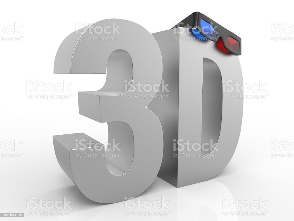 Word 3D With A Pair Of 3D Glasses stock photo