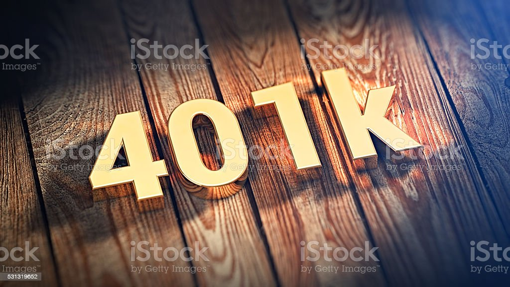 Word 401k on wood planks stock photo