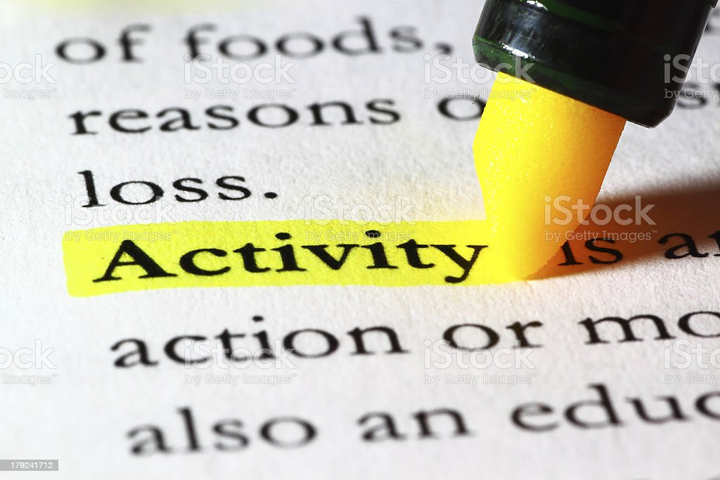 Word activity highlighted with a yellow marker royalty-free stock photo