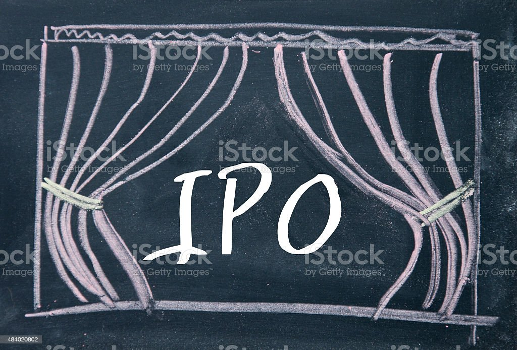 IPO word and curtain background on blackboard stock photo