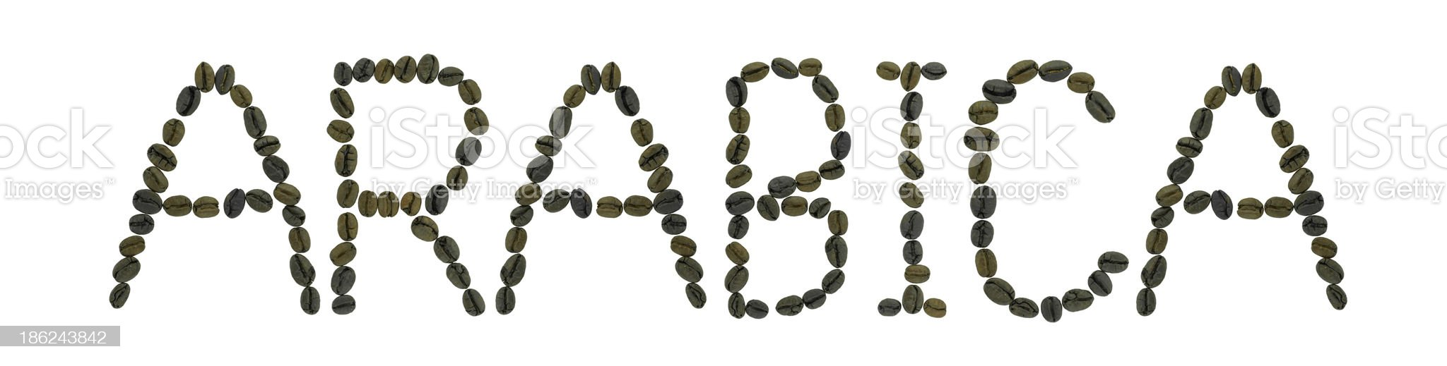 word ARABICA made of coffee beans royalty-free stock photo