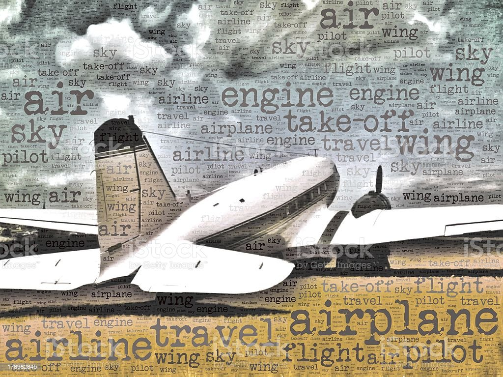 Word art illustration of a DC-3 transport aircraft royalty-free stock photo