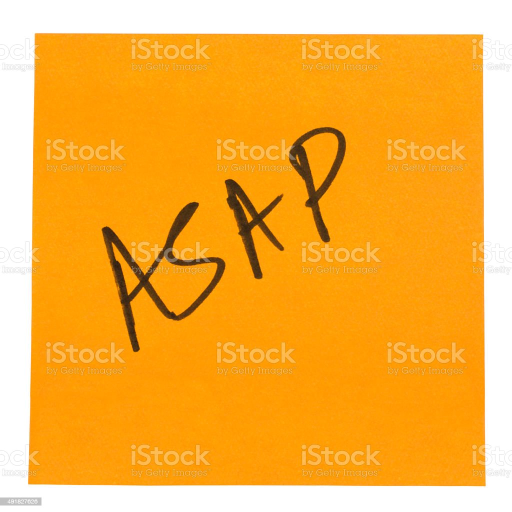 Word ASAP written on an adhesive note stock photo