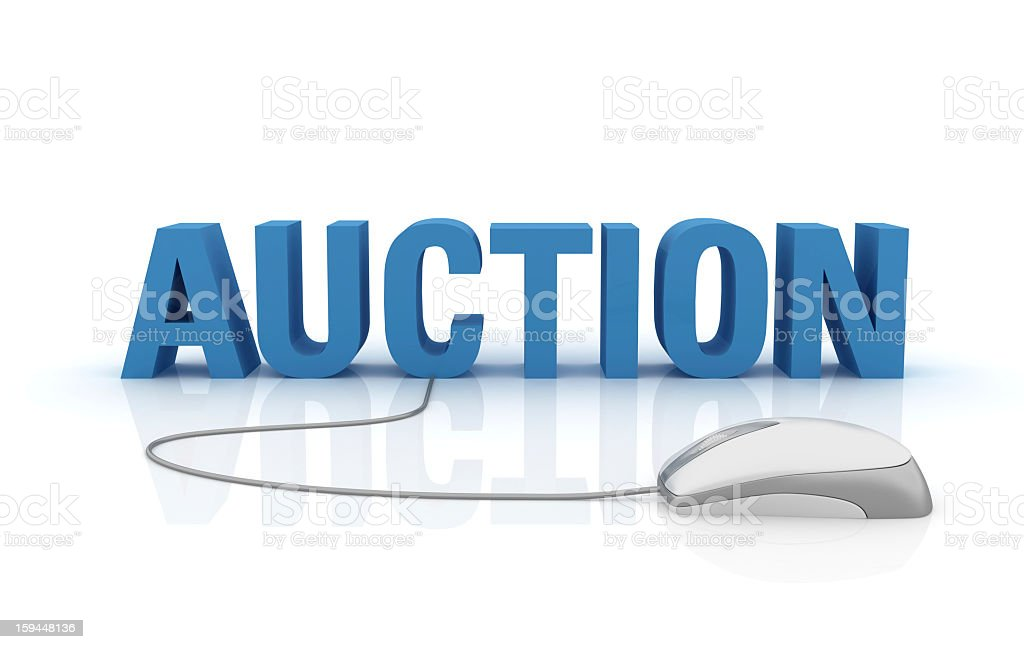 3D Word Auction with Computer Mouse stock photo