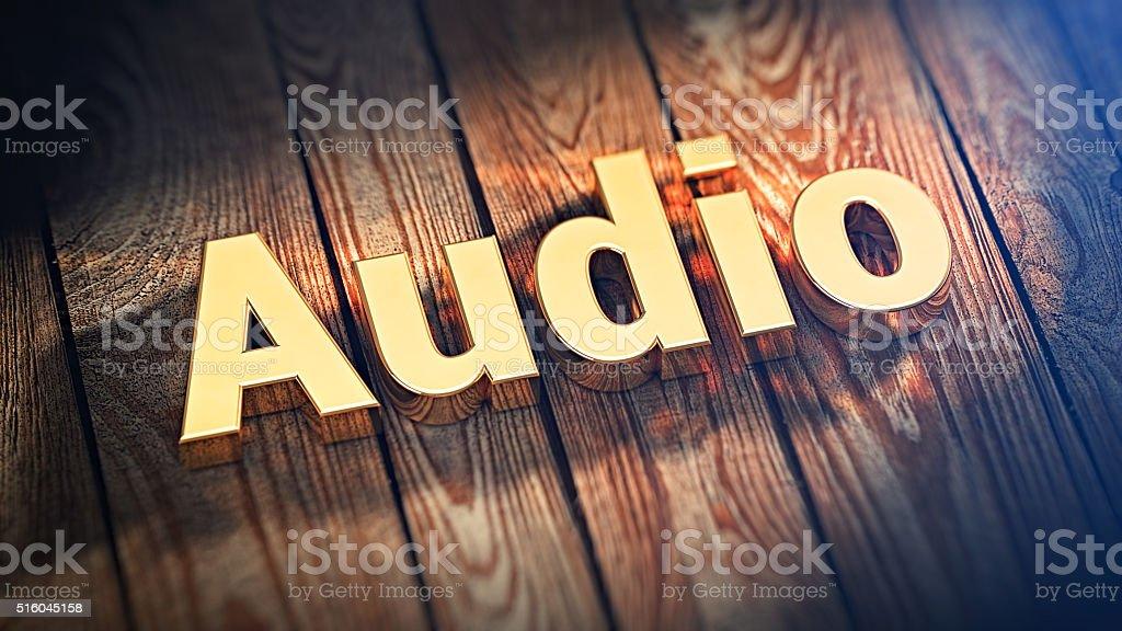 Word Audio on wood planks stock photo