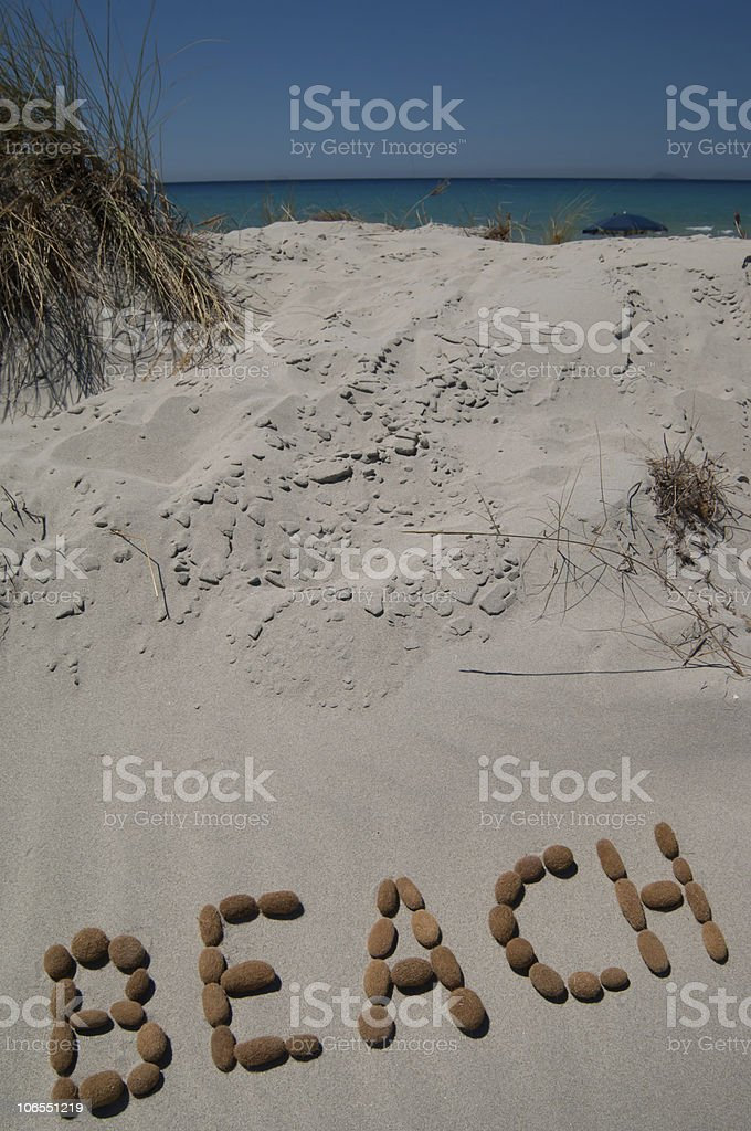 word beach on the sand royalty-free stock photo