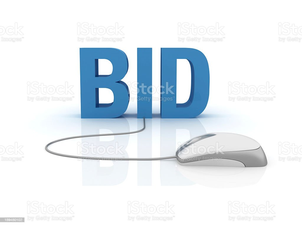 3D Word Bid with Computer Mouse stock photo