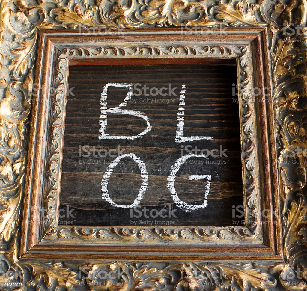Word Blog in a Golden Frame stock photo
