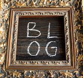 Word Blog in a Golden Frame