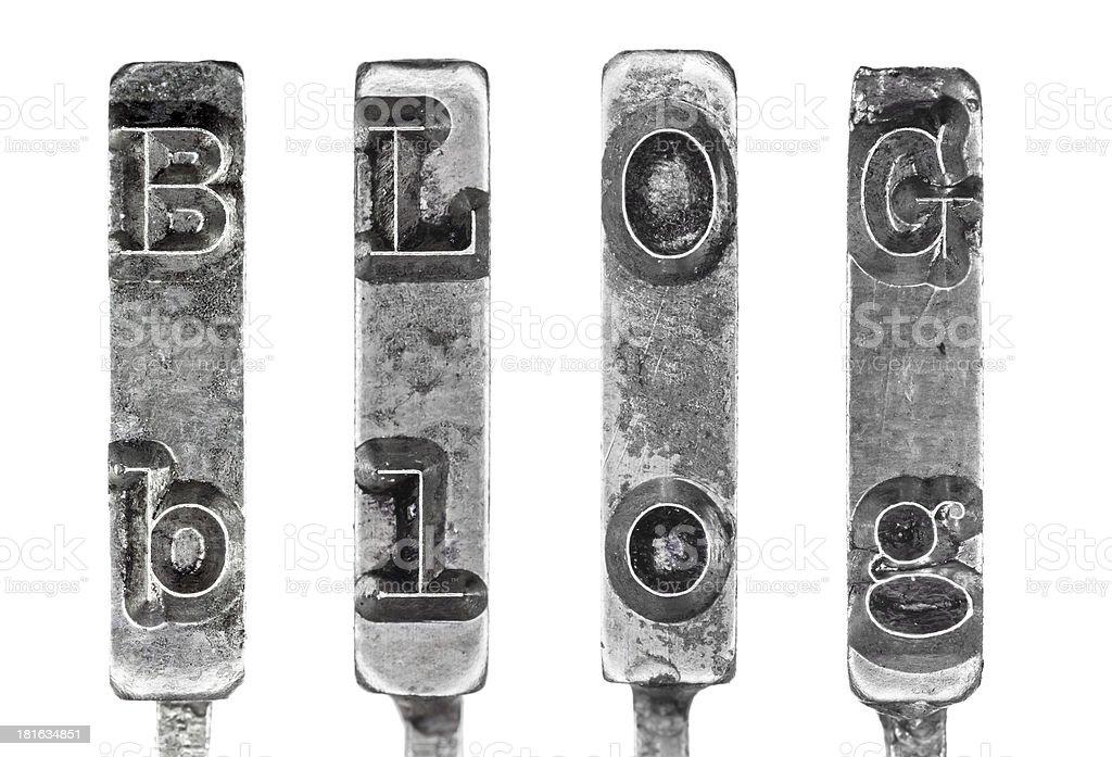 Word BLOG in Vintage Typewriter Typebars Isolated on White Background stock photo