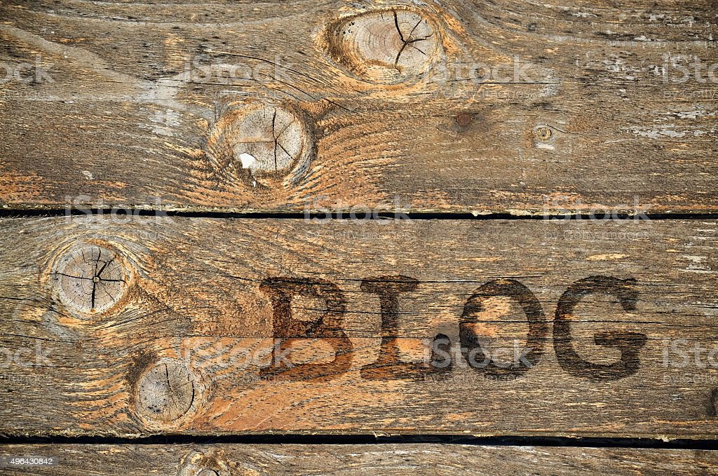 Word Blog on wooden background stock photo