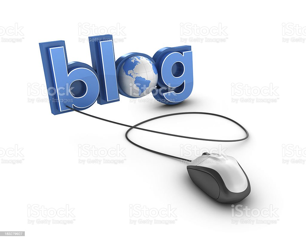 3D Word BLOG with Earth Globe and Computer Mouse royalty-free stock photo