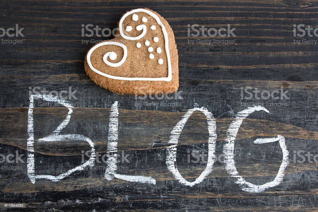 Word Blog with Gingerbread  Heart stock photo