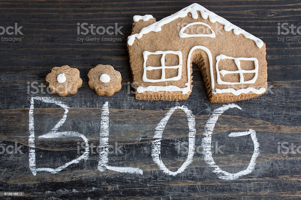Word Blog with Gingerbread  House stock photo