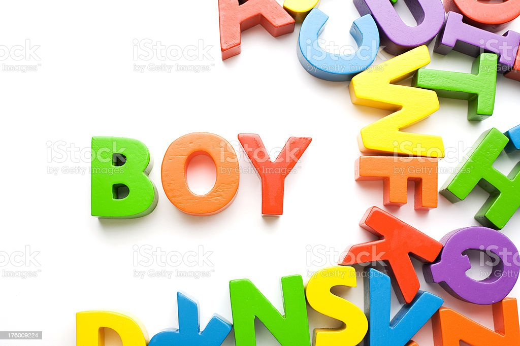 Word Boy Colorful Letters Studio Isolated royalty-free stock photo