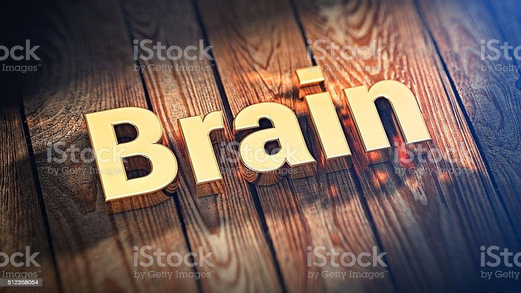 Word Brain on wood planks stock photo