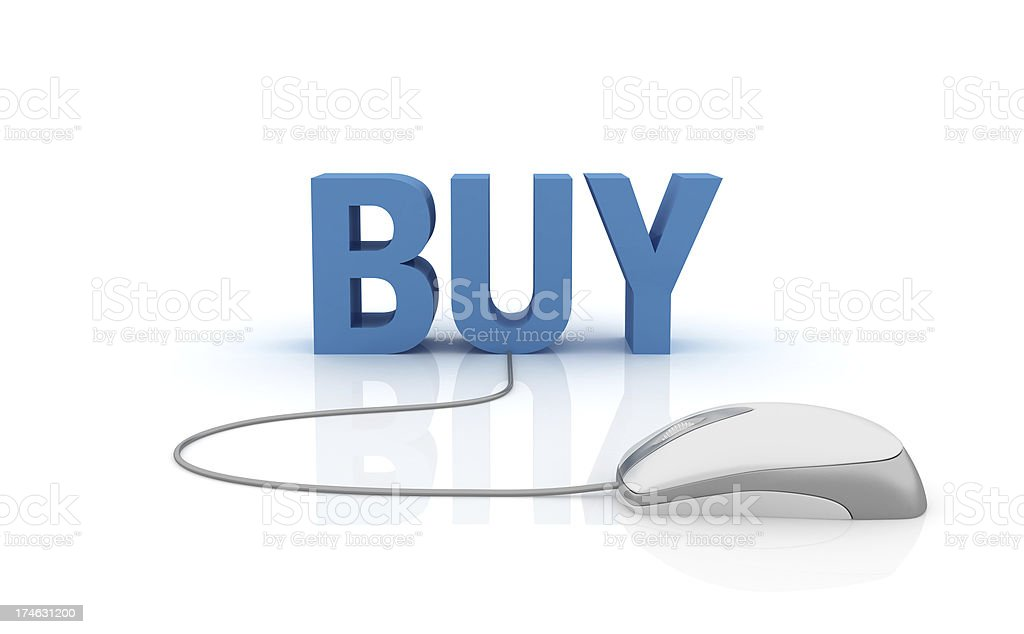 3D Word Buy with Computer Mouse royalty-free stock photo
