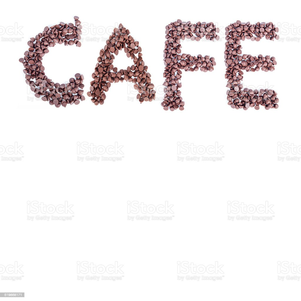 word cafe make from alignment of chocolate chips stock photo