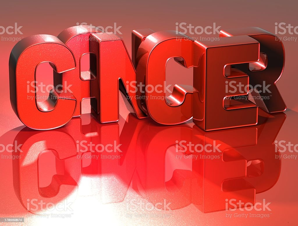 3D Word Cancer on red background royalty-free stock photo