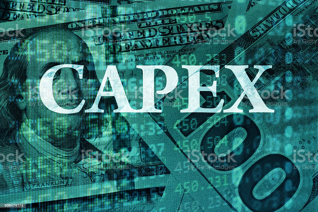 Word CAPEX  with the financial data. stock photo