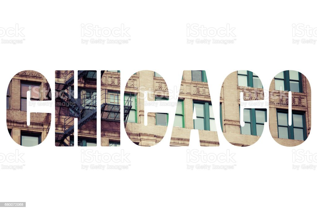 Word CHICAGO over famous places. stock photo