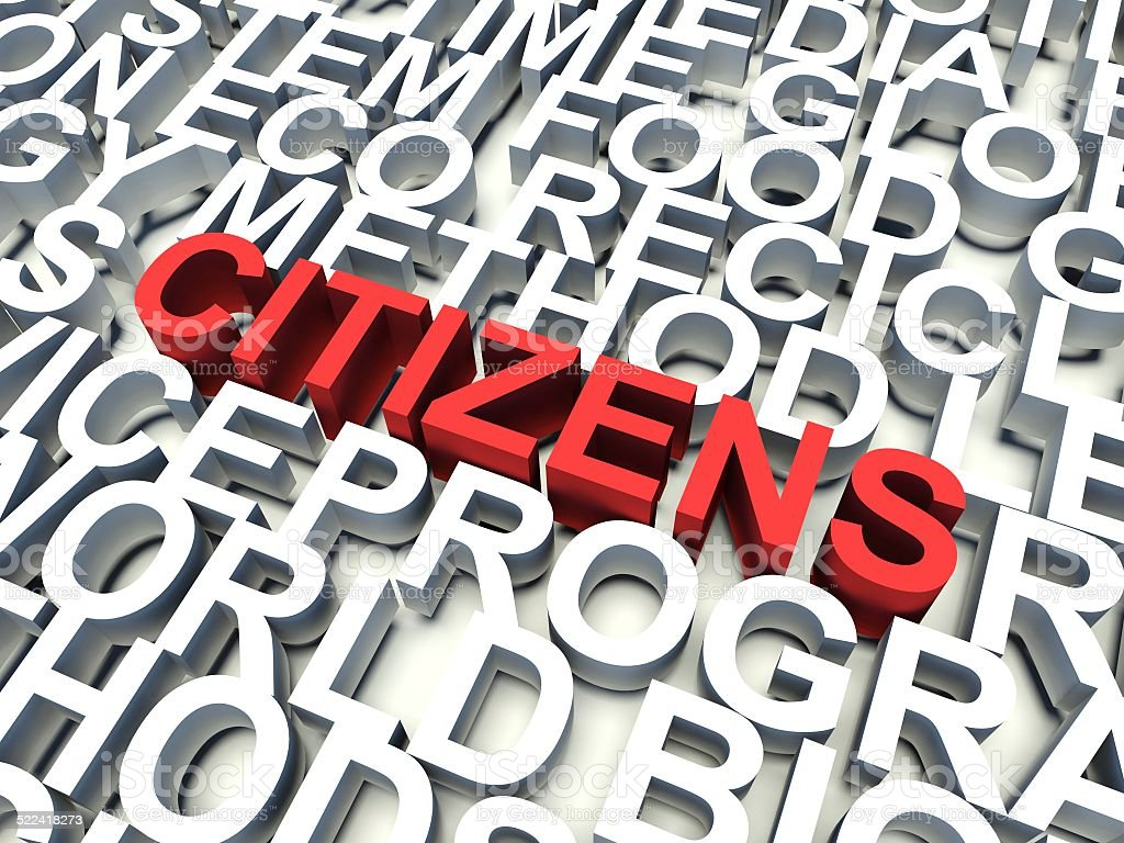 Word Citizens in red. 3d render illustration. stock photo
