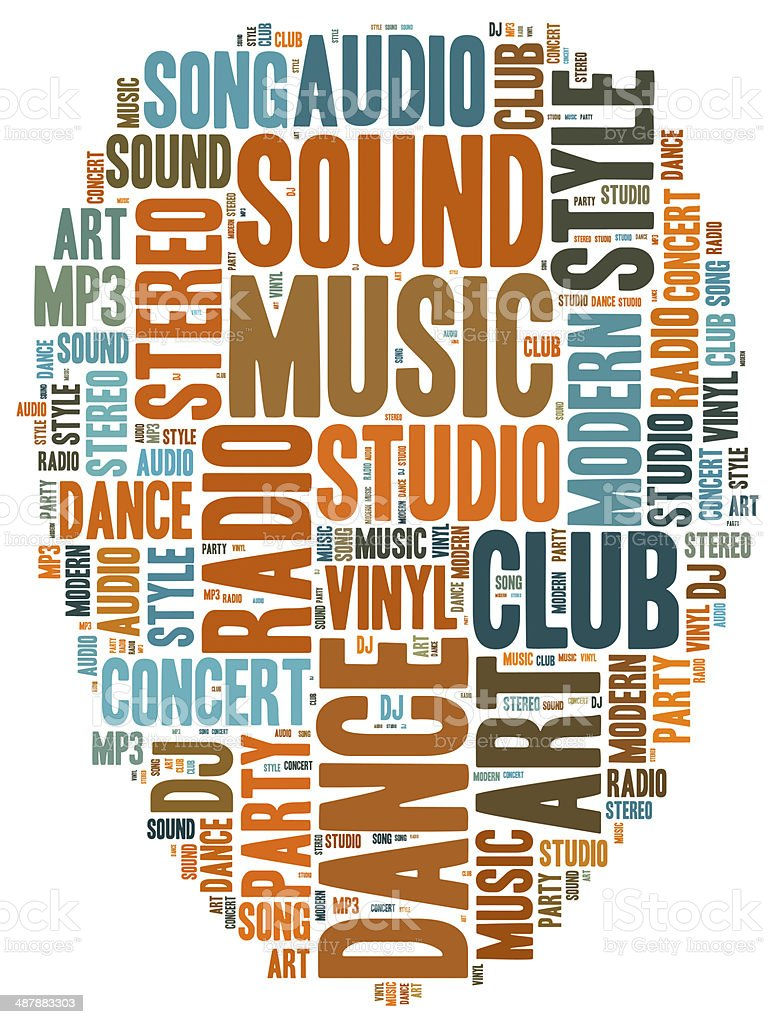 Word cloud concept music related stock photo
