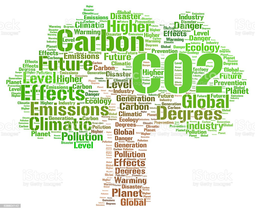 CO2 word cloud concept stock photo