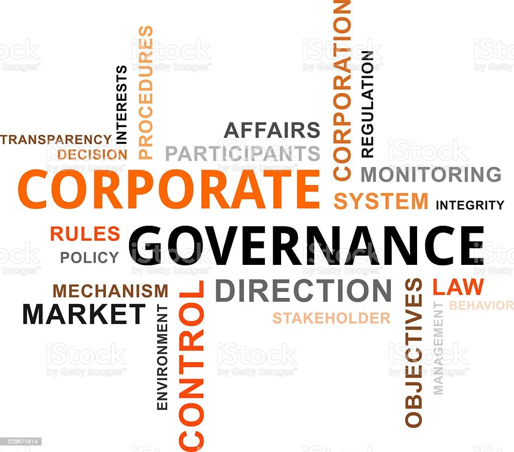 word cloud - corporate governance stock photo