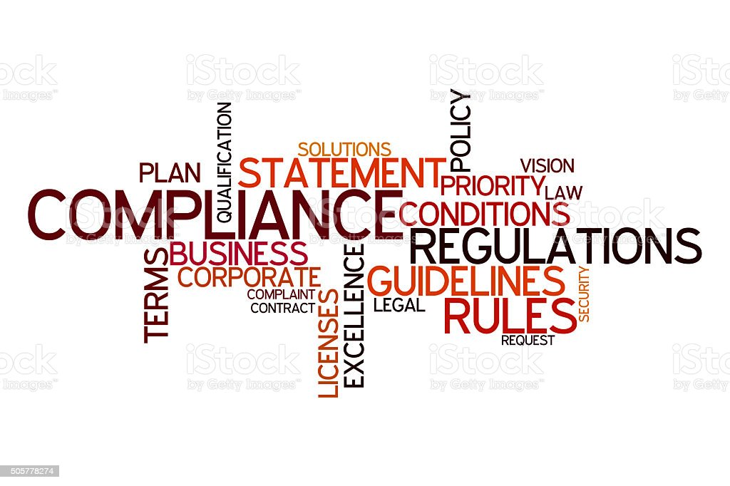 Word cloud for Compliance vector art illustration