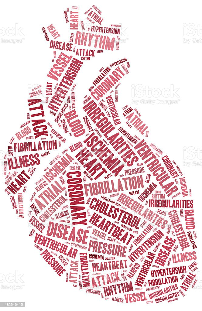 Word cloud heart disease related in shape of organ stock photo
