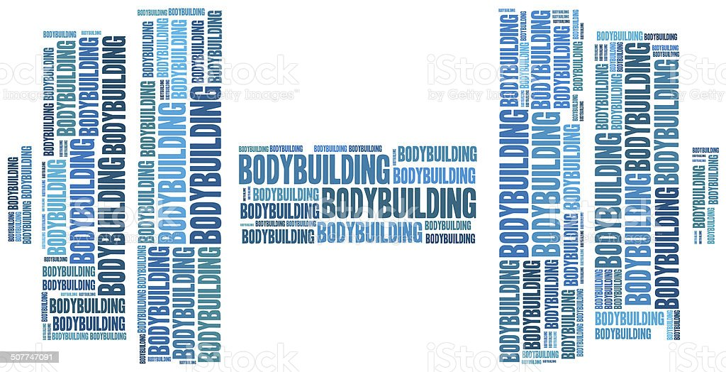 Word cloud illustration bodybuilding related royalty-free stock photo
