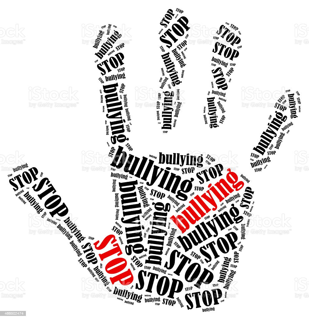 Word cloud illustration in shape of hand print showing protest. vector art illustration