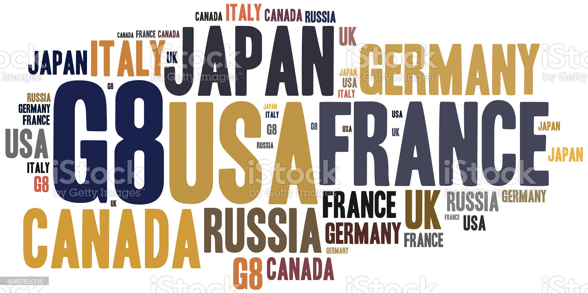 Word cloud illustration related to most influential countries royalty-free stock vector art