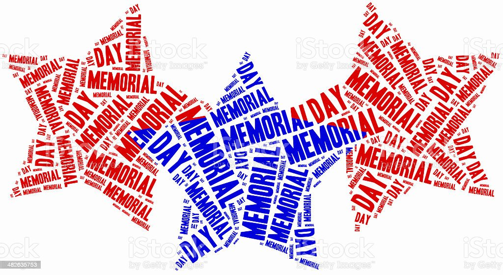 Word cloud memorial day related in shape of stars stock photo