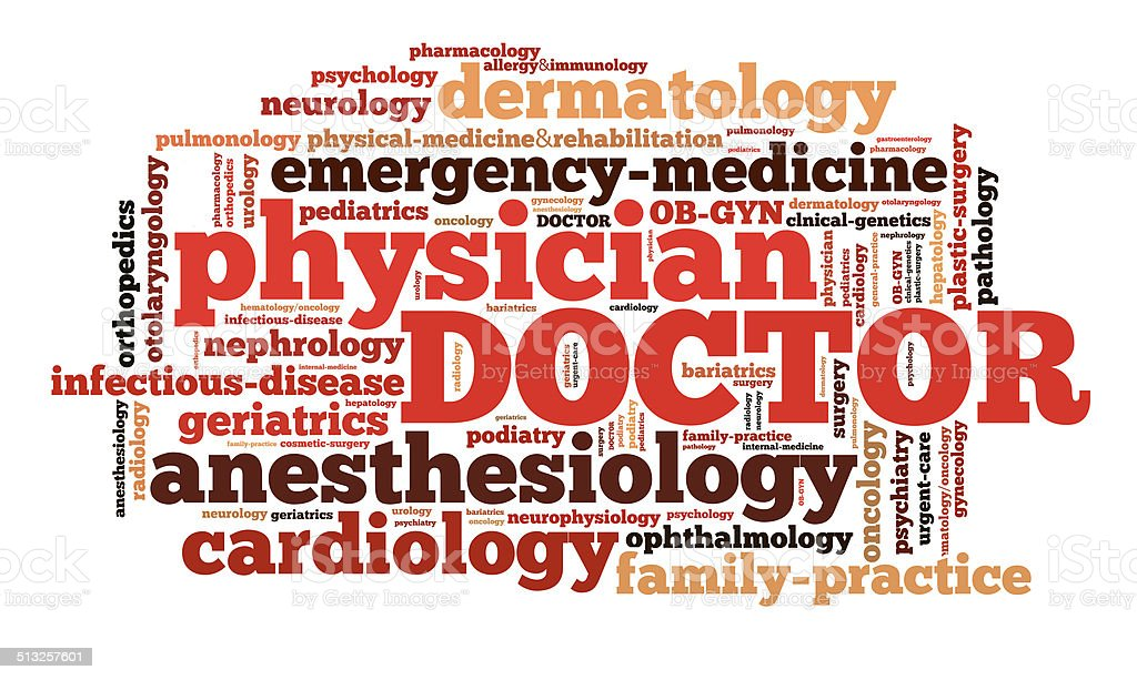 Word cloud of medical specialities stock photo
