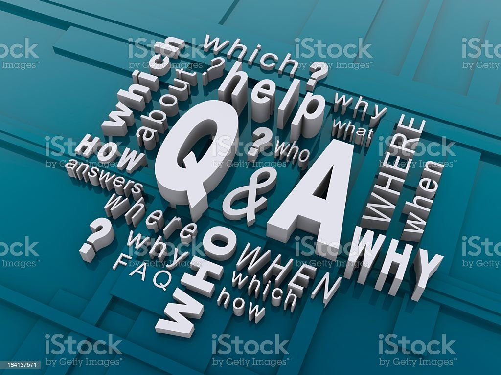 Word cloud of question with blue geometric background royalty-free stock photo