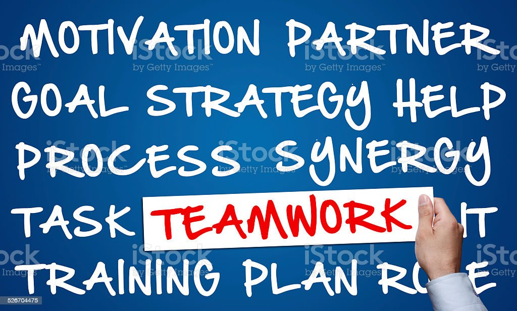 Word cloud of teamwork related items stock photo