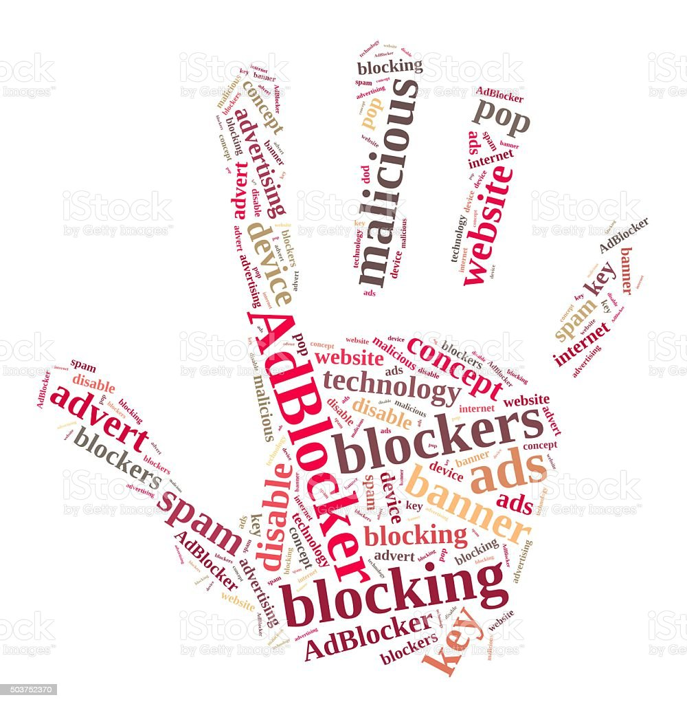 Word cloud on ad blockers. stock photo