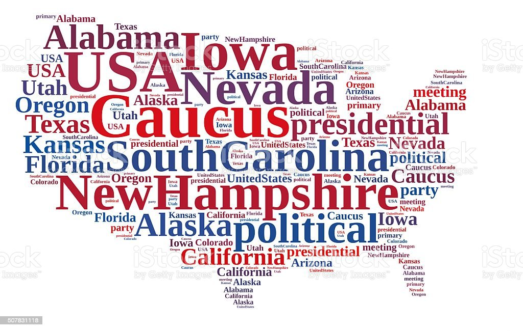 Word cloud on the Caucus in the US. stock photo