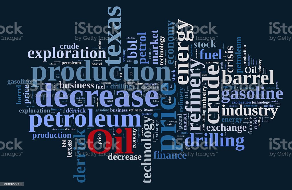 Word cloud on the price of oil. stock photo