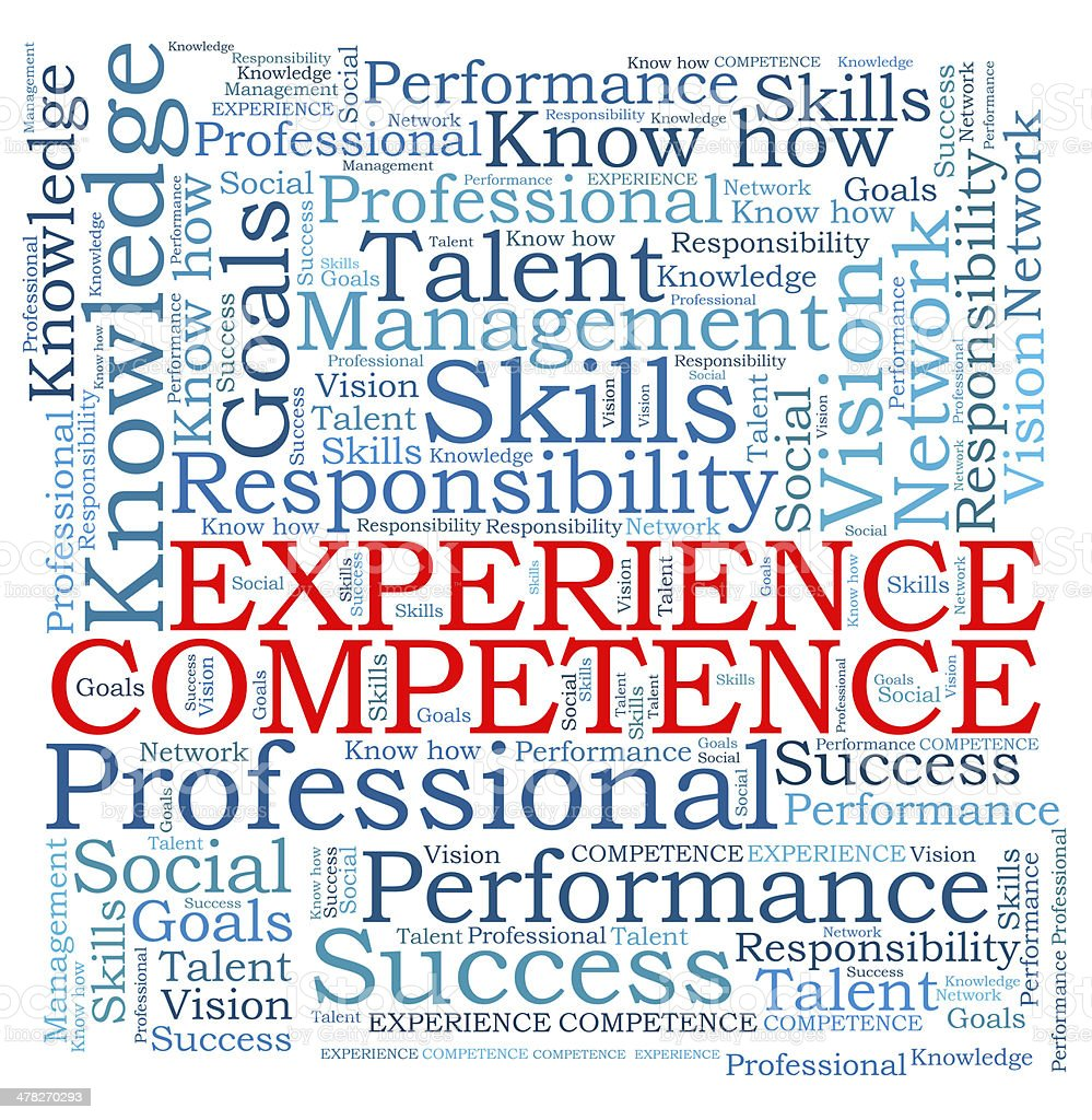 EXPERIENCE COMPETENCE word cloud royalty-free stock photo