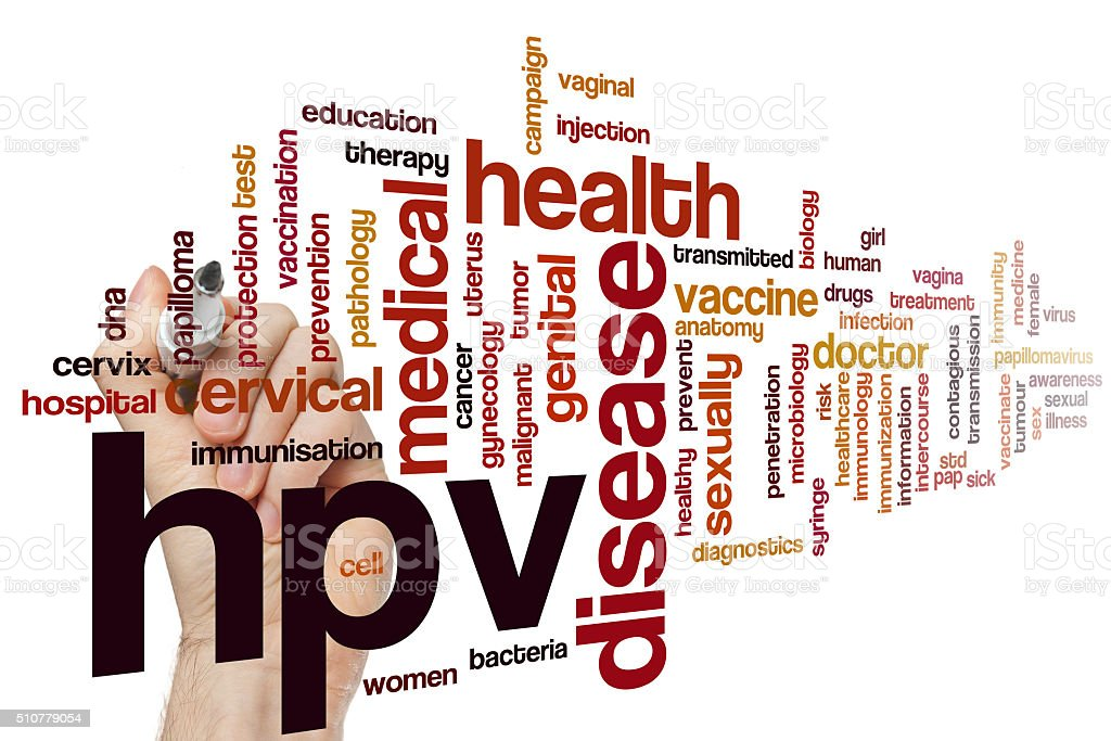 HPV word cloud stock photo